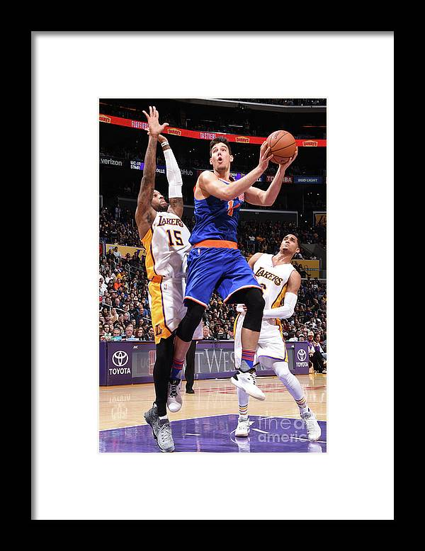 Guillermo Hernangómez Geuer Framed Print featuring the photograph New York Knicks V Los Angeles Lakers by Andrew D. Bernstein