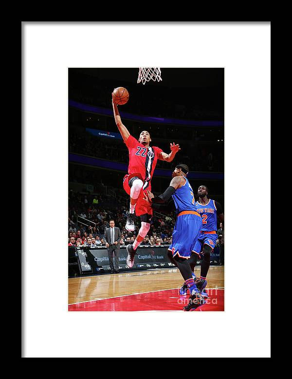 Nba Pro Basketball Framed Print featuring the photograph New York Knicks V Washington Wizards by Ned Dishman