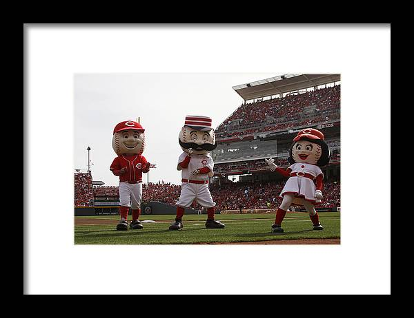 Great American Ball Park Framed Print featuring the photograph St. Louis Cardinals Vs. Cincinnati Reds by John Grieshop