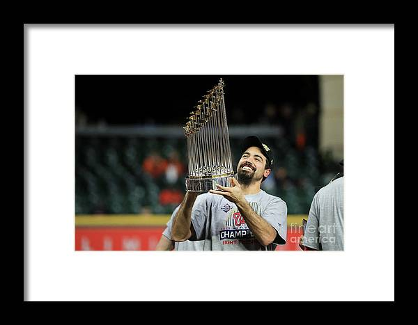 American League Baseball Framed Print featuring the photograph World Series - Washington Nationals V 10 by Mike Ehrmann