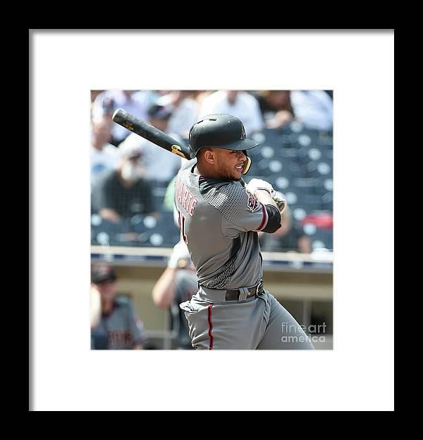 Three Quarter Length Framed Print featuring the photograph Arizona Diamondbacks V San Diego Padres by Denis Poroy