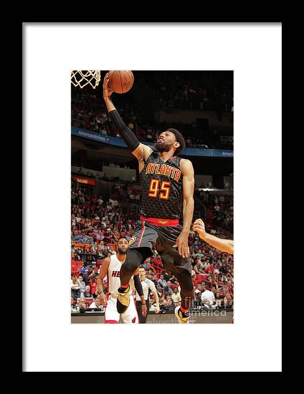 Nba Pro Basketball Framed Print featuring the photograph Atlanta Hawks V Miami Heat by Oscar Baldizon