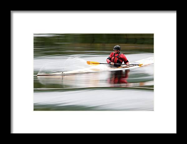 Sports Helmet Framed Print featuring the photograph Cedar Strip Kayak by Steve Glass