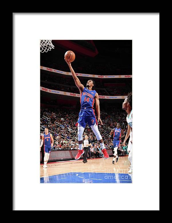 Nba Pro Basketball Framed Print featuring the photograph Charlotte Hornets V Detroit Pistons by Chris Schwegler