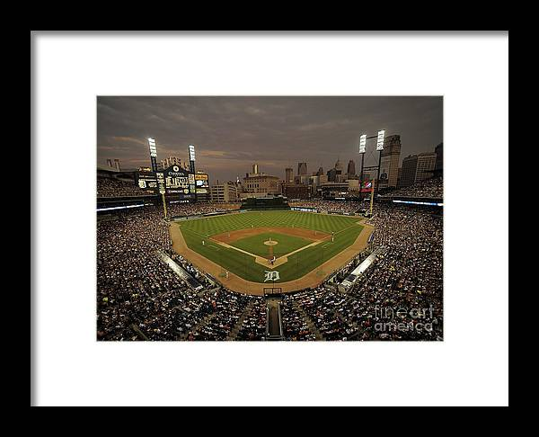 American League Baseball Framed Print featuring the photograph Cleveland Indians V Detroit Tigers by Mark Cunningham