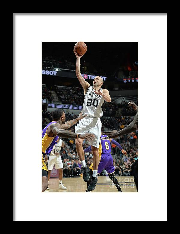 Nba Pro Basketball Framed Print featuring the photograph Los Angeles Lakers V San Antonio Spurs by Mark Sobhani