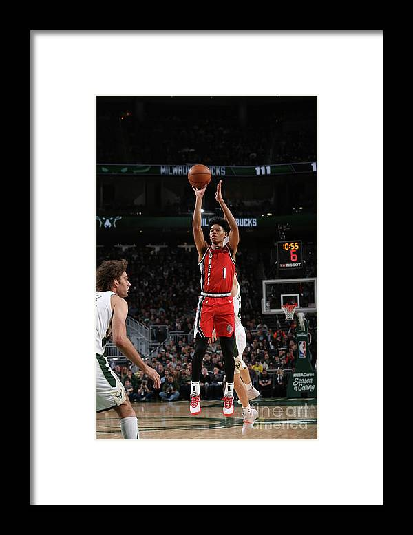 Nba Pro Basketball Framed Print featuring the photograph Portland Trail Blazers V Milwaukee Bucks by Gary Dineen