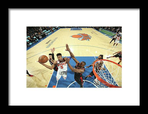 Nba Pro Basketball Framed Print featuring the photograph Toronto Raptors V New York Knicks by Nathaniel S. Butler