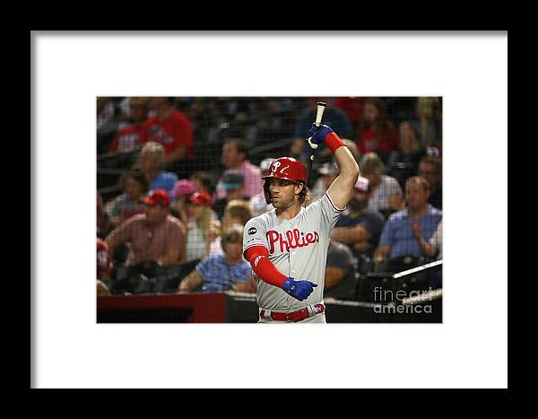 People Framed Print featuring the photograph Philadelphia Phillies V Arizona 12 by Christian Petersen