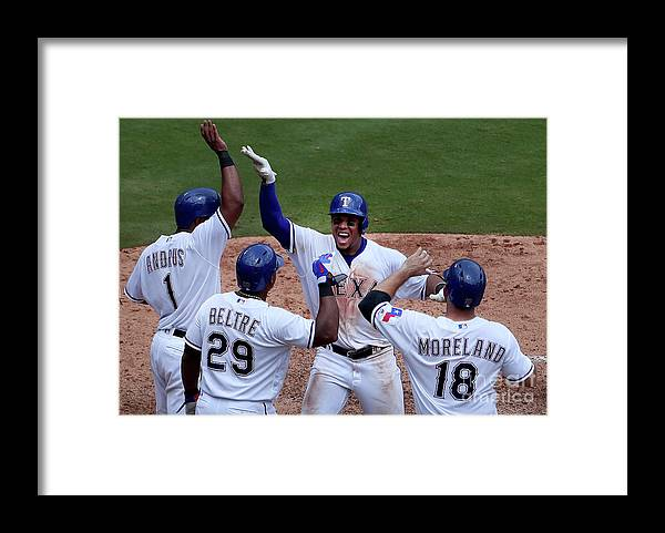 Adrian Beltre Framed Print featuring the photograph Seattle Mariners V Texas Rangers by Tom Pennington
