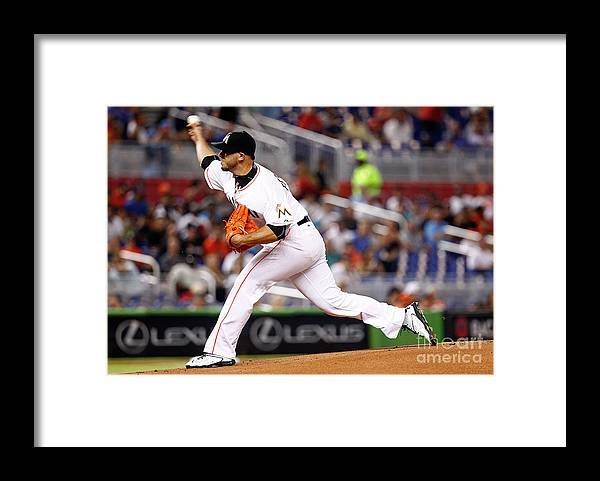 People Framed Print featuring the photograph Washington Nationals V Miami Marlins by Mike Ehrmann