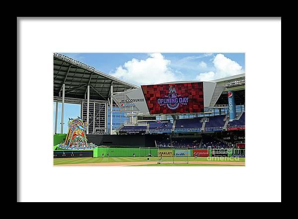 American League Baseball Framed Print featuring the photograph Atlanta Braves V Miami Marlins by Mike Ehrmann
