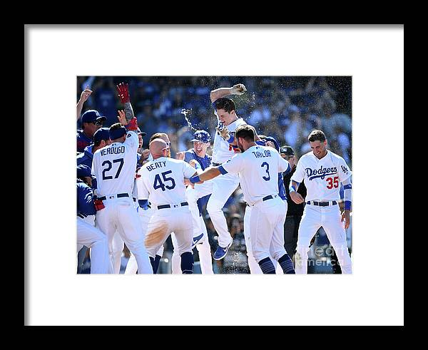 People Framed Print featuring the photograph Colorado Rockies V Los Angeles Dodgers 13 by Harry How
