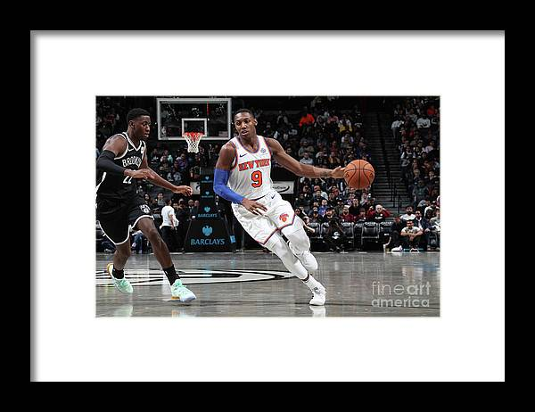 Nba Pro Basketball Framed Print featuring the photograph New York Knicks V Brooklyn Nets by Nathaniel S. Butler