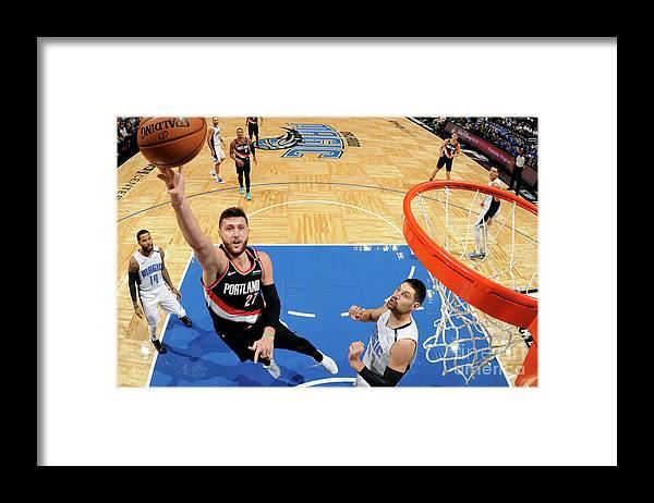 Jusuf Nurkić Framed Print featuring the photograph Portland Trail Blazers V Orlando Magic by Fernando Medina