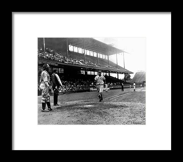 Scoring Framed Print featuring the photograph National Baseball Hall Of Fame Library by National Baseball Hall Of Fame Library