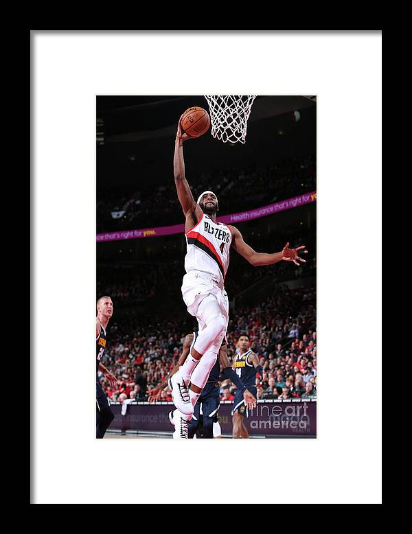 Moe Harkless Framed Print featuring the photograph Denver Nuggets V Portland Trail Blazers by Sam Forencich