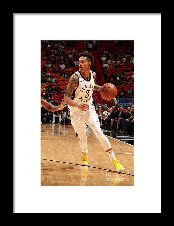 Nba Pro Basketball Framed Print featuring the photograph Indiana Pacers V Miami Heat by Issac Baldizon