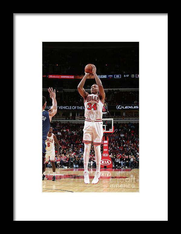 Nba Pro Basketball Framed Print featuring the photograph New Orleans Pelicans V Chicago Bulls by Gary Dineen
