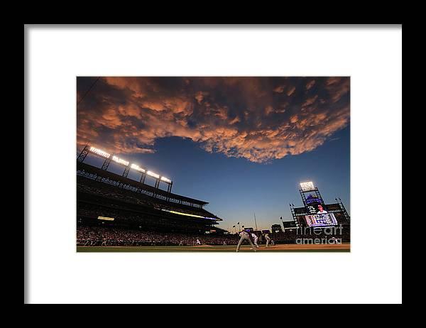 National League Baseball Framed Print featuring the photograph Philadelphia Phillies V Colorado Rockies by Doug Pensinger
