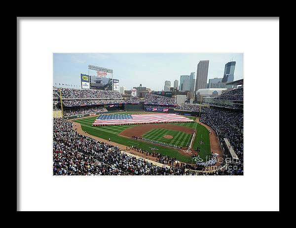 American League Baseball Framed Print featuring the photograph Boston Red Sox V Minnesota Twins by Hannah Foslien