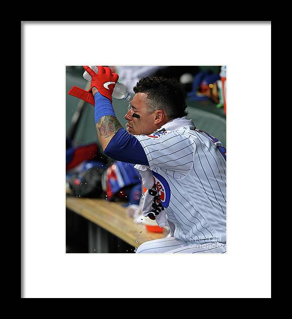 Three Quarter Length Framed Print featuring the photograph Cincinnati Reds V Chicago Cubs 15 by Jonathan Daniel
