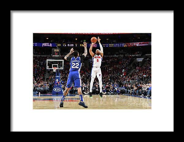 Nba Pro Basketball Framed Print featuring the photograph Detroit Pistons V Philadelphia 76ers by Jesse D. Garrabrant