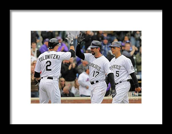 Scoring Framed Print featuring the photograph Los Angeles Dodgers V Colorado Rockies by Doug Pensinger