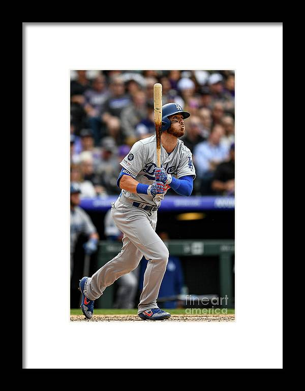 People Framed Print featuring the photograph Los Angeles Dodgers V Colorado Rockies 15 by Dustin Bradford