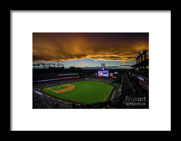 American League Baseball Framed Print featuring the photograph Los Angeles Dodgers V Colorado Rockies by Justin Edmonds