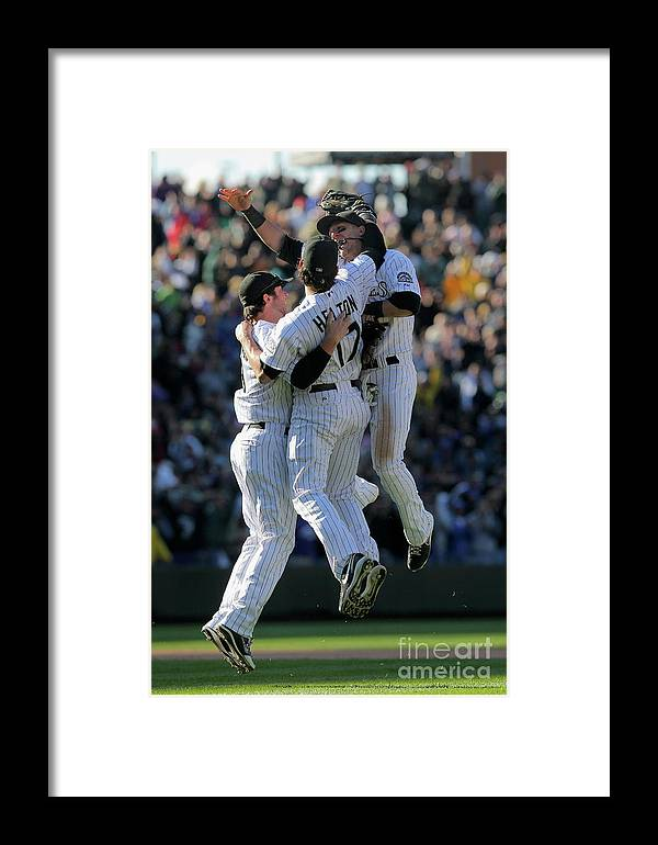 Celebration Framed Print featuring the photograph Milwaukee Brewers V Colorado Rockies 15 by Doug Pensinger