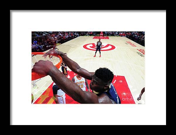 Atlanta Framed Print featuring the photograph New Orleans Pelicans V Atlanta Hawks by Scott Cunningham