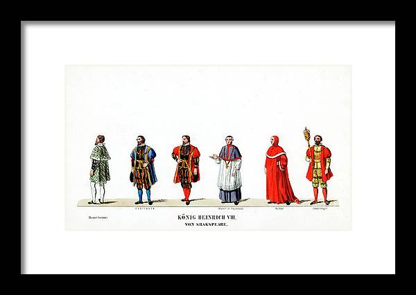 Engraving Framed Print featuring the drawing Theatre Costume Designs by Print Collector