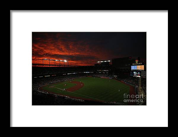 American League Baseball Framed Print featuring the photograph Toronto Blue Jays V Baltimore Orioles by Patrick Smith
