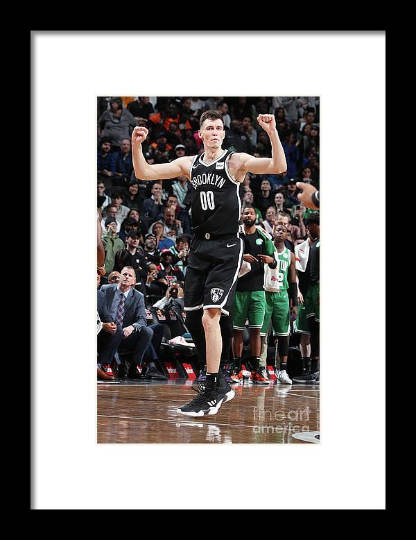 Nba Pro Basketball Framed Print featuring the photograph Boston Celtics V Brooklyn Nets by Nathaniel S. Butler