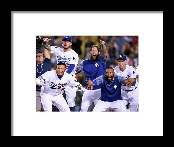 Three Quarter Length Framed Print featuring the photograph Colorado Rockies V Los Angeles Dodgers by Harry How