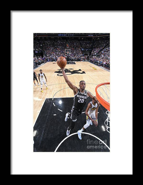 Nba Pro Basketball Framed Print featuring the photograph Golden State Warriors V Sacramento Kings by Rocky Widner