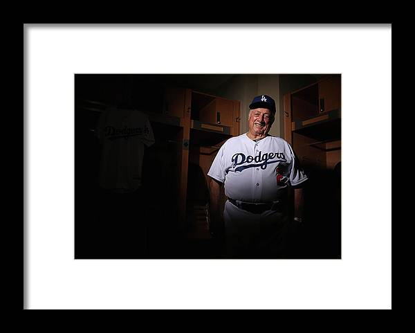 Media Day Framed Print featuring the photograph Los Angeles Dodgers Photo Day by Christian Petersen