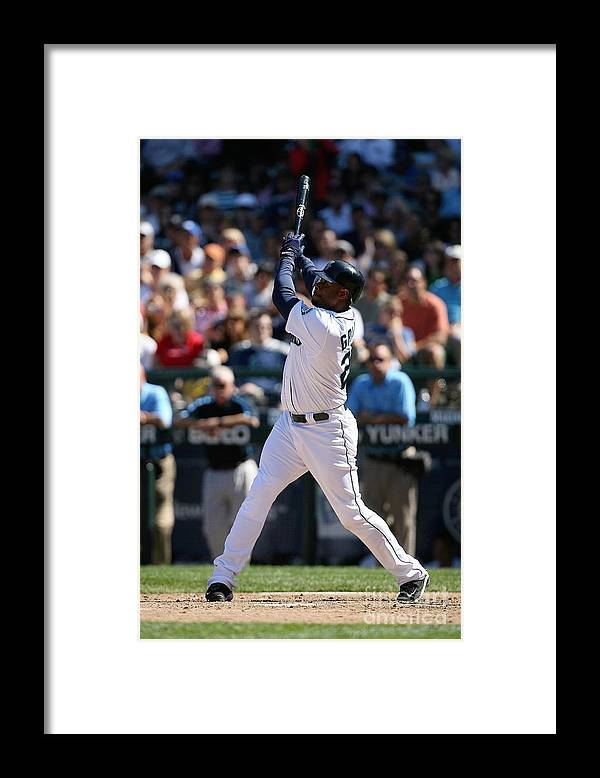 People Framed Print featuring the photograph New York Yankees V Seattle Mariners by Otto Greule Jr