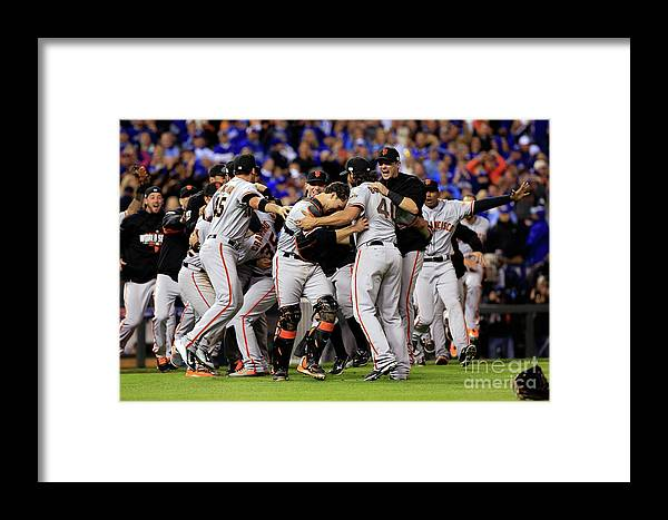 People Framed Print featuring the photograph World Series - San Francisco Giants V 17 by Jamie Squire