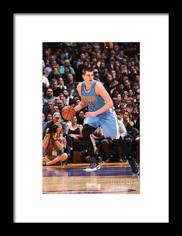 Nba Pro Basketball Framed Print featuring the photograph Denver Nuggets V Los Angeles Lakers by Andrew D. Bernstein