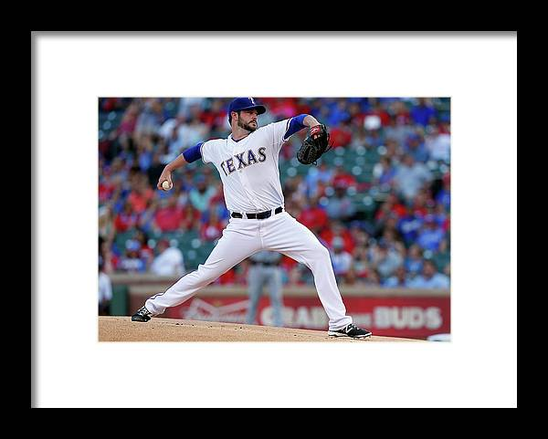 American League Baseball Framed Print featuring the photograph Houston Astros V Texas Rangers by Tom Pennington