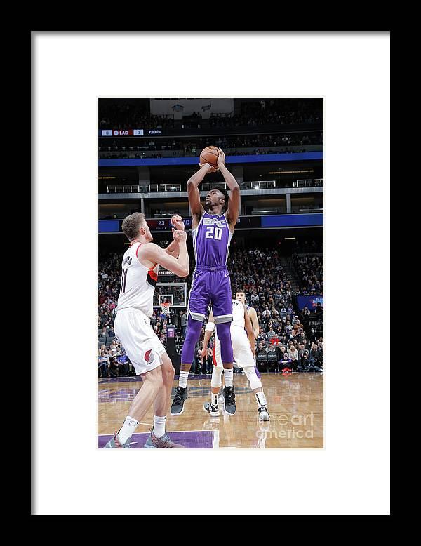 Nba Pro Basketball Framed Print featuring the photograph Portland Trail Blazers V Sacramento by Rocky Widner