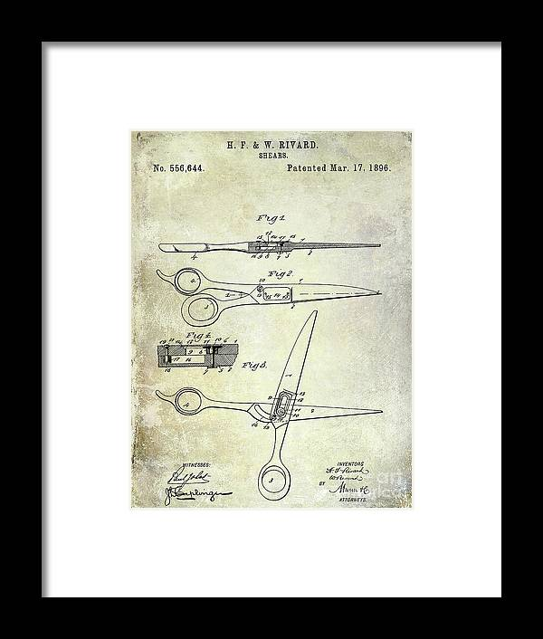 Barber Chair Patent Drawing Blueprint Framed Print featuring the photograph 1906 Barbers Shears Patent 1906 by Jon Neidert
