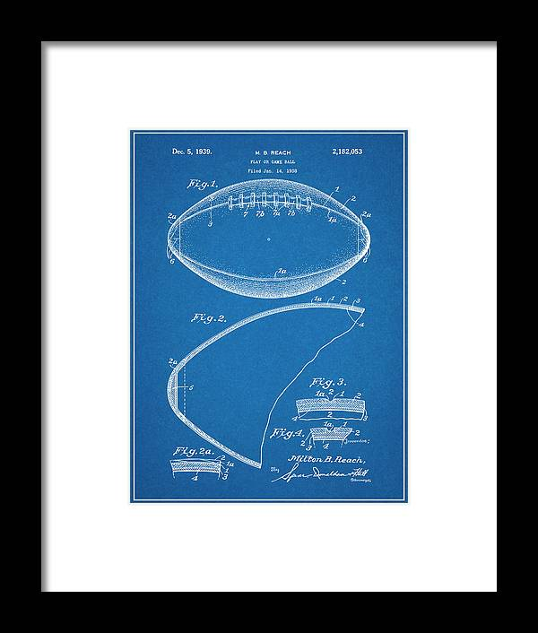 1936 Reach Football Patent Print Framed Print featuring the drawing 1936 Reach Football Blueprint Patent Print by Greg Edwards