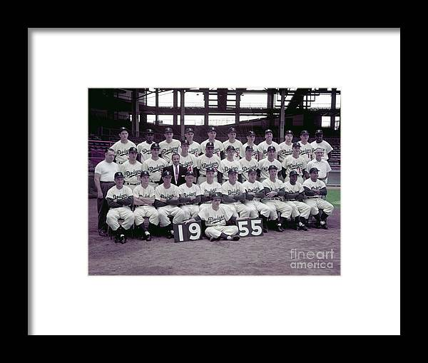 Sandy Koufax Framed Print featuring the photograph 1955 Brooklyn Dodgers by Kidwiler Collection
