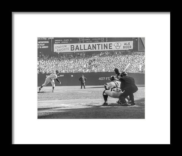 Baseball Catcher Framed Print featuring the photograph 1956 World Series - Game 5 Brooklyn by The Stanley Weston Archive