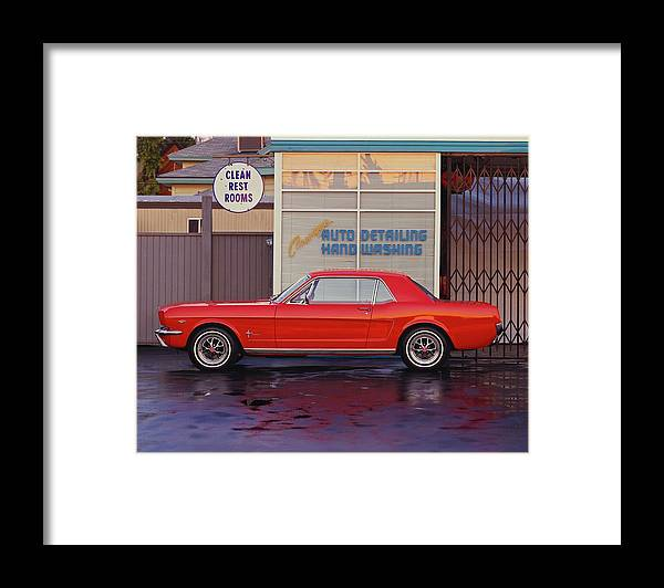 Sports Car Framed Print featuring the photograph 1964 12 Ford Mustang Coupe At Billys by Car Culture