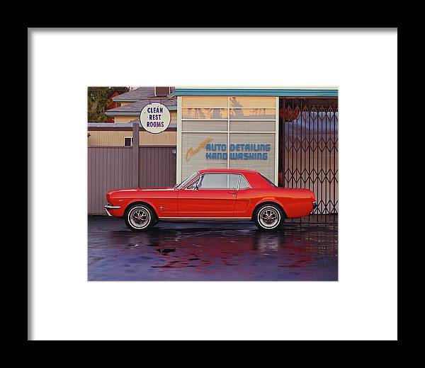 Sports Car Framed Print featuring the photograph 1964 12 Ford Mustang Coupe At Billys 1964 by Car Culture