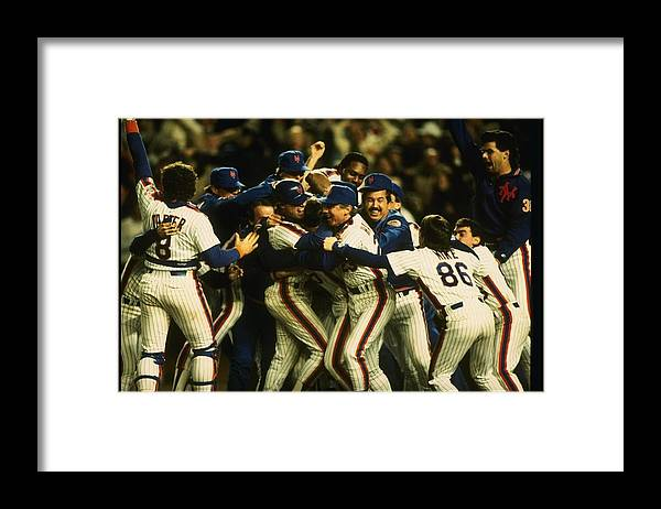 1980-1989 Framed Print featuring the photograph 1986 World Series Mets by T.g. Higgins